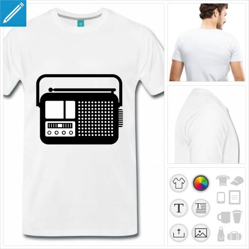 t-shirt rouge radio vintage à personnaliser, impression unique