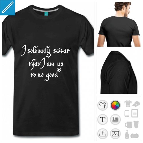 T-shirt poudlard, I solemnly swear, formule de la carte du maraudeur à imprimer en ligne.