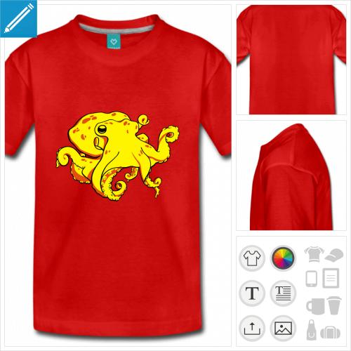 t-shirt à manches courtes poulpe à personnaliser et imprimer en ligne