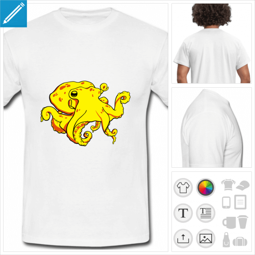 t-shirt basique pieuvre à personnaliser en ligne