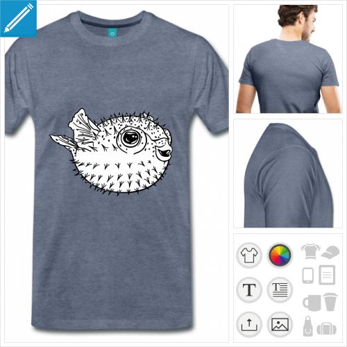 t-shirt premium puffer fish à créer soi-même
