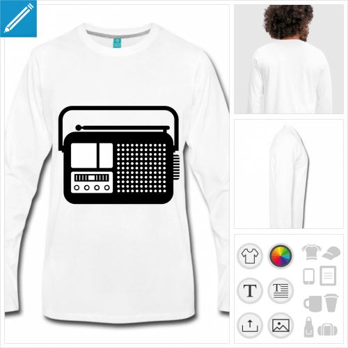 t-shirt gris poste radio à créer en ligne