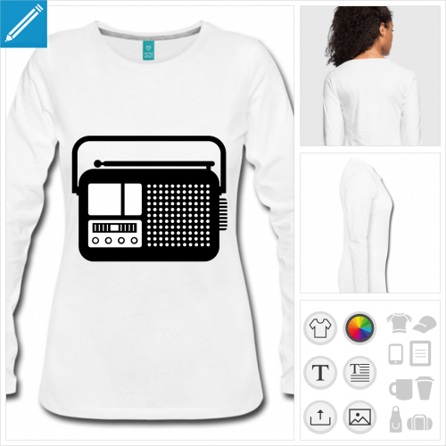 t-shirt gris poste radio personnalisable, impression à l'unité