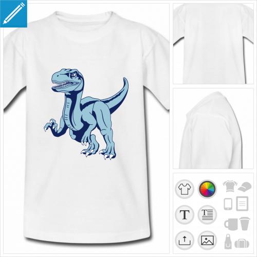 t-shirt vélociraptor à personnaliser, impression unique
