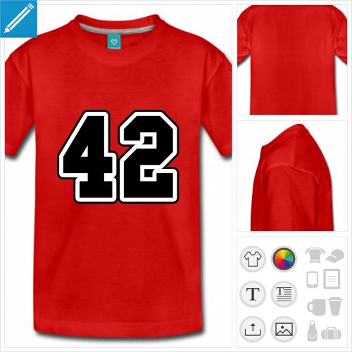 t-shirt pour adolescent h2g2 à personnaliser