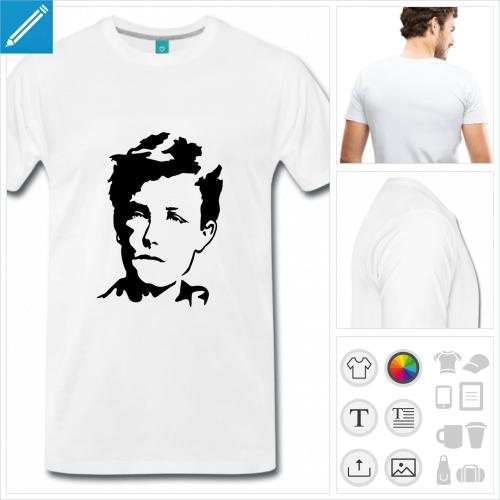 T-shirt Rimbaud, portrait du poète à imprimer en ligne.