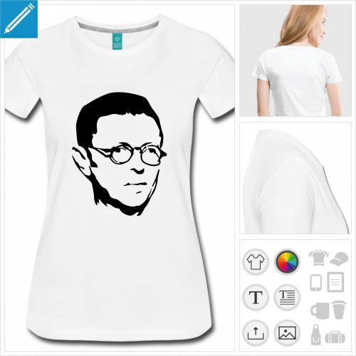 T-shirt Sartre, portrait de Jean-Paul Sartre jeune, à imprimer en ligne.