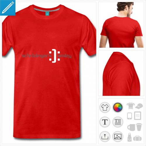 T-shirt Schrödinger, smiley de Schrödinger, content / triste, à personnaliser et imprimer en ligne.