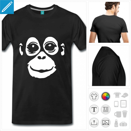 T-shirt singe à imprimer en blanc sur noir, bébé orang outan à personnaliser.
