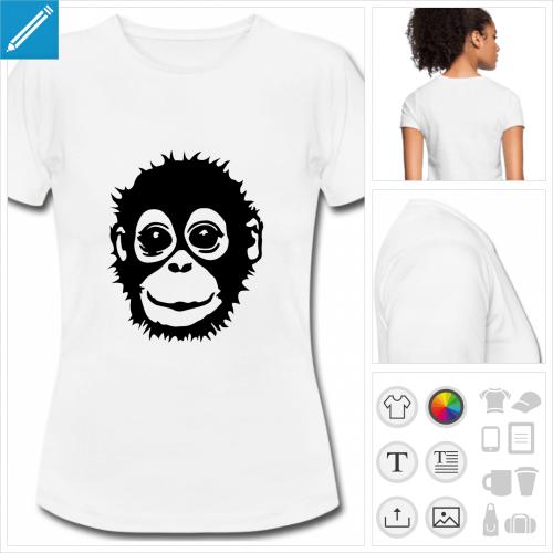 t-shirt blanc bébé singe à créer soi-même