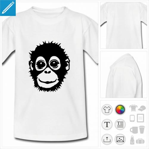 t-shirt enfant singe à personnaliser, impression unique
