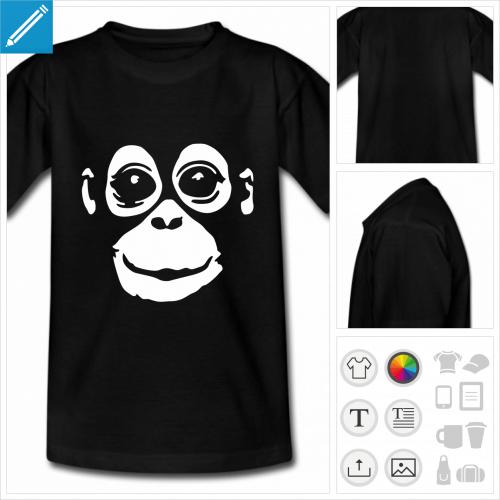 t-shirt simple bébé singe à personnaliser en ligne