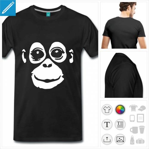 t-shirt basique singe à créer soi-même