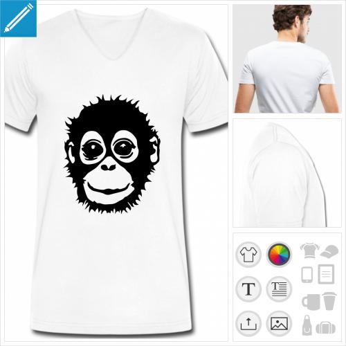 t-shirt homme bébé singe à créer en ligne