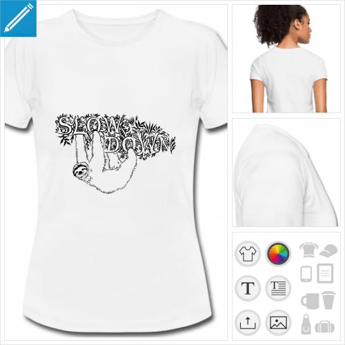 t-shirt femme slow paresseux à imprimer en ligne