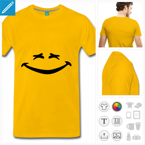 T-shirt smiley rire aux yeux plissés et sourire en banane, à imprimer en ligne.