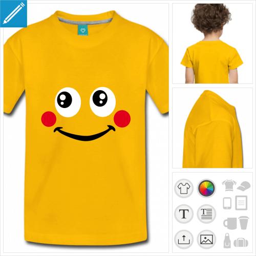 tee-shirt smiley mignon à personnaliser, impression unique