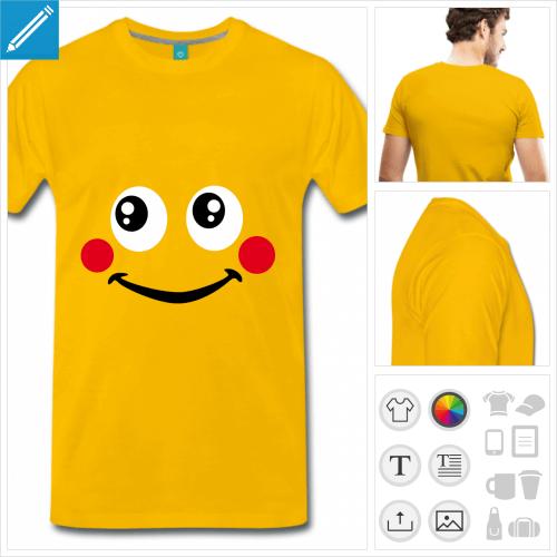 T-shirt smiley avec des joues rouges à personnaliser et imprimer en ligne.