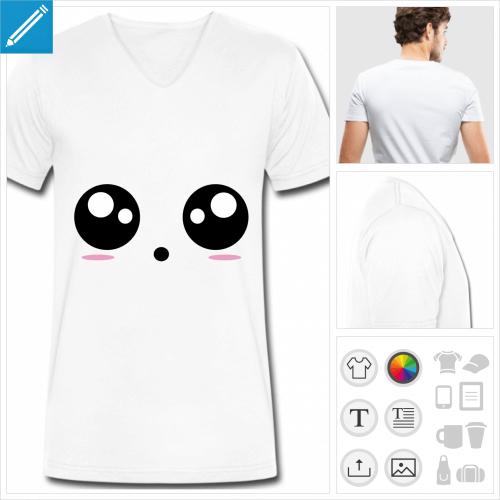 t-shirt simple kawaii personnalisable, impression à l'unité