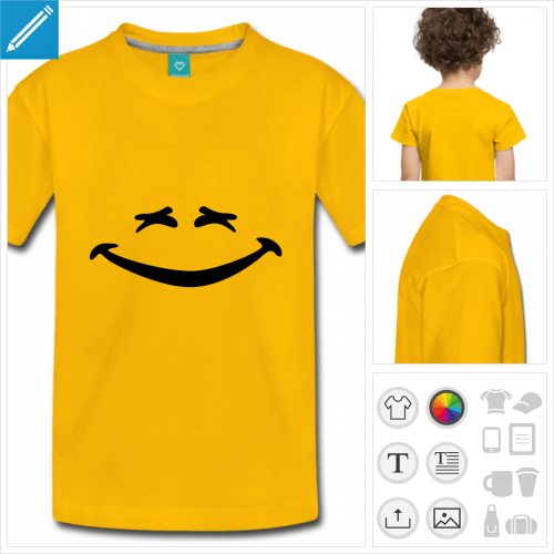 t-shirt bleu-marine smiley à personnaliser