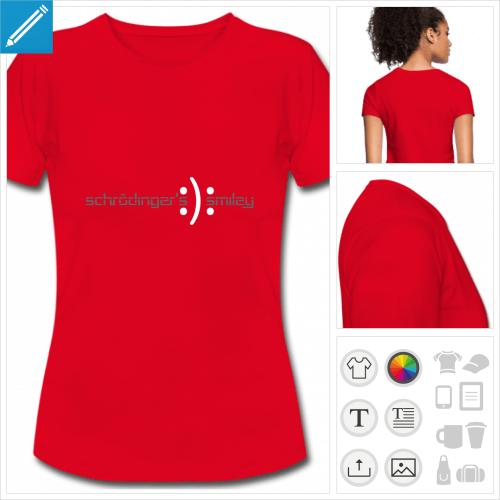 t-shirt femme smiley schrödinger à créer en ligne