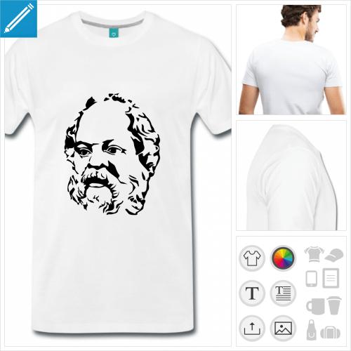 T-shirt Socrate, portrait du philosophe grec à imprimer en ligne.