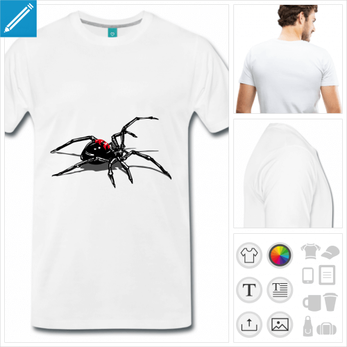 t-shirt blanc araignée à personnaliser