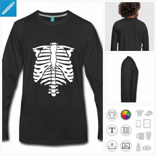 t-shirt manches longues skelette Halloween à personnaliser et imprimer en ligne