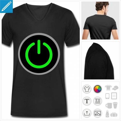 T-shirt start, bouton start stylisé personnalisable à imprimer en ligne.