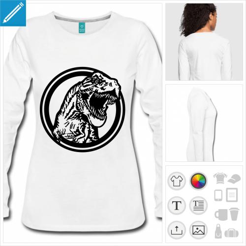 t-shirt gris dinosaure à créer en ligne