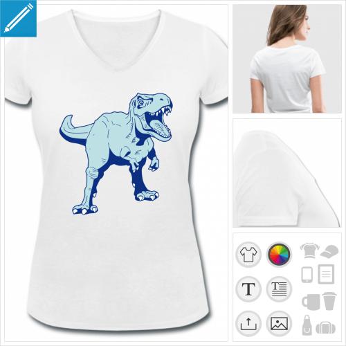 t-shirt femme T-rex à personnaliser, impression unique