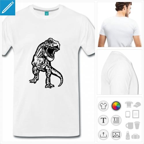 T-shirt T-rex à personnaliser, créez votre t-shirt dinosaure en ligne.