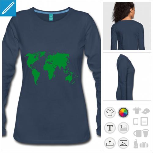 t-shirt femme Terre à personnaliser et imprimer en ligne