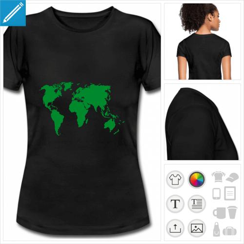 t-shirt manches courtes Terre personnalisable, impression à l'unité