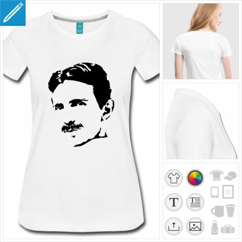 t-shirt rose Tesla day à imprimer en ligne