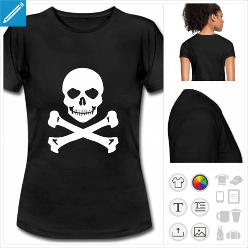 t-shirt noir basique tête de mort sourire à imprimer en ligne