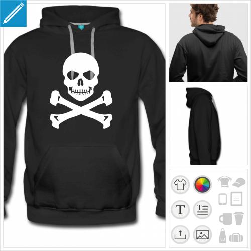 T-shirt tête de mort à personnaliser, créez votre t-shirt pirate en ligne.