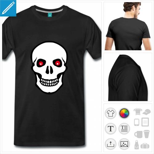T-shirt tête de mort, tête stylisée aux yeux rouge et fond opaque à personnaliser.