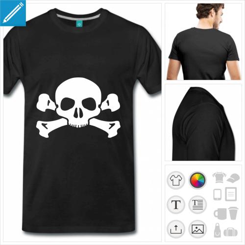 T-shirt tête de mort simple, une couleur, à imprimer en ligne.