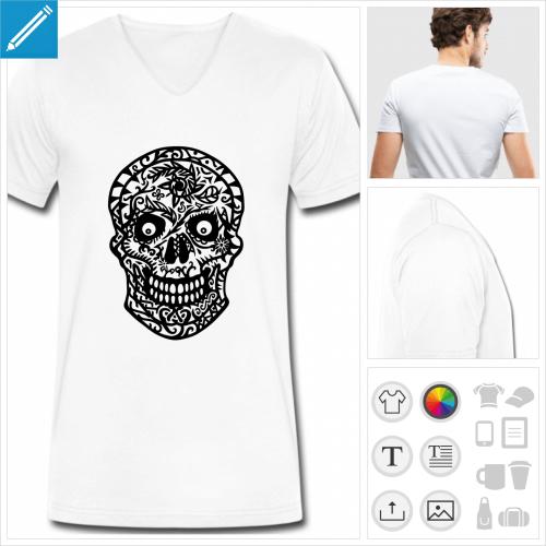 t-shirt simple tête de mort fleurs à personnaliser et imprimer en ligne
