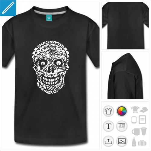 t-shirt ado tête de mort à personnaliser