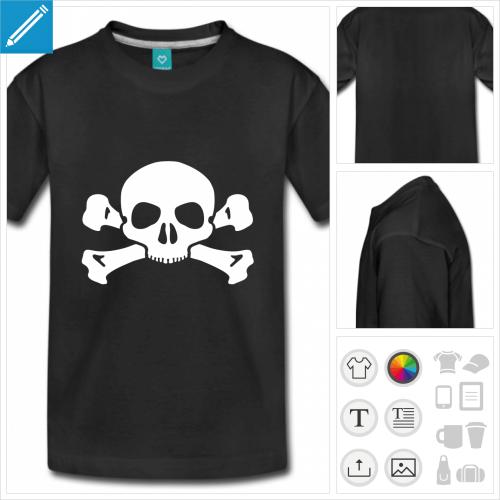 t-shirt pour adolescent tête de mort à personnaliser, impression unique