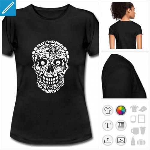 t-shirt simple tête de mort fleurs à personnaliser en ligne