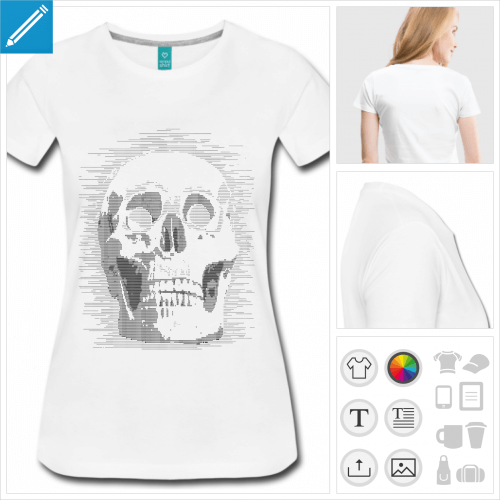 t-shirt femme gris geek à créer en ligne