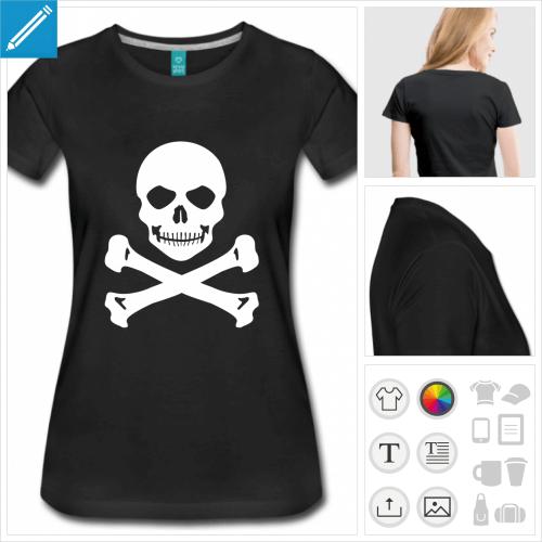 t-shirt noir tête de mort à personnaliser et imprimer en ligne