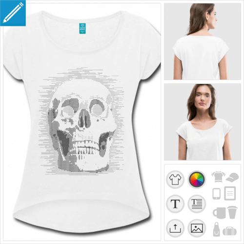 t-shirt cropped nerd personnalisable, impression à l'unité