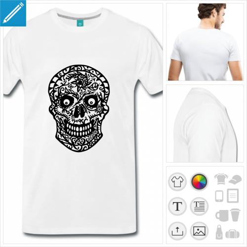 T-shirt tête de mort fleurie dessinée en tracés fins à imprimer en ligne.