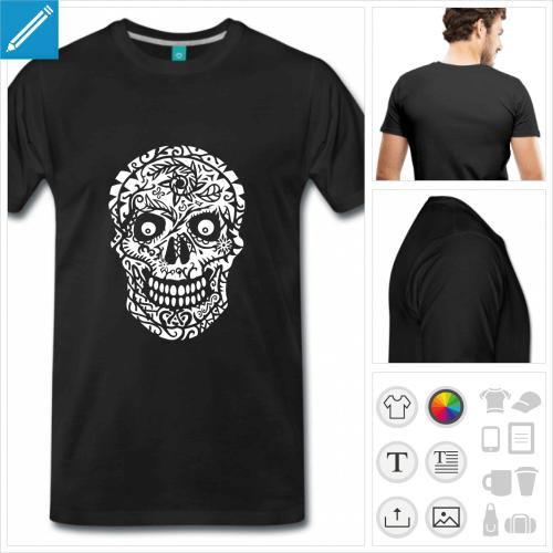 T-shirt tête de mort gravée de fleurs et symboles à personnaliser.