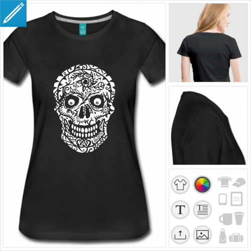 tee-shirt tête de mort à imprimer en ligne
