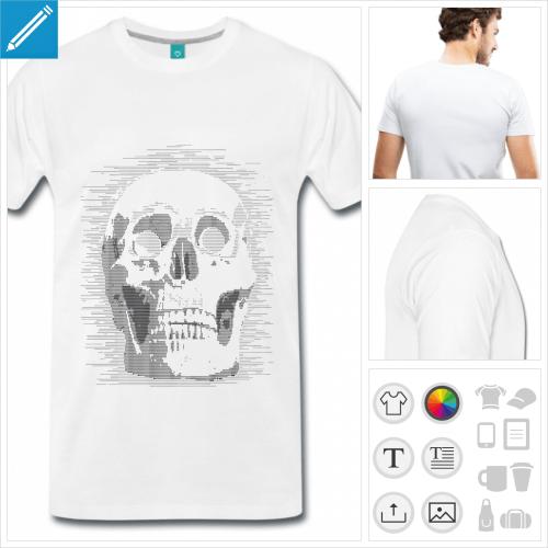 T-shirt tête de mort geek, tête de mort dessinée en ascii à personnaliser.